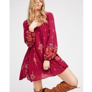 Free People Oxford Swing Dress Floral Embroidered